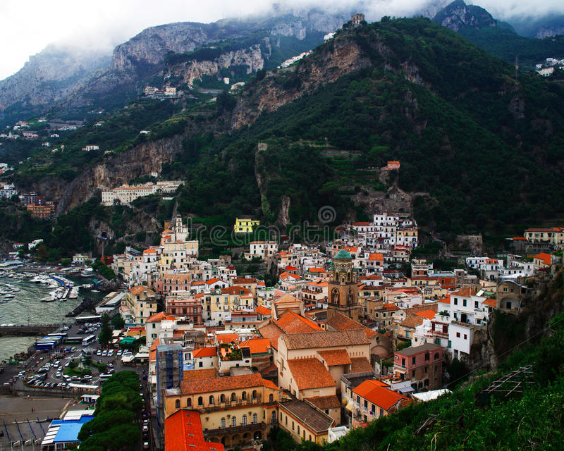 Stad van Positano in Italië stock foto