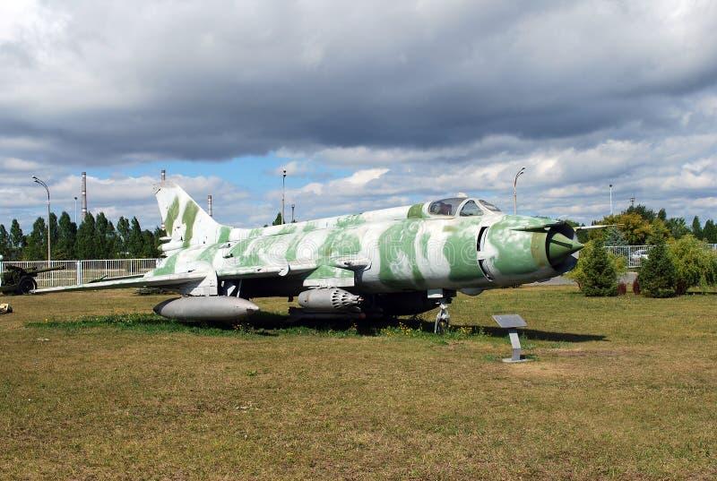 Stad van Togliatti Technisch museum van K G sakharov Tentoongesteld voorwerp van de vechter van de museum Sovjet su-17M staking royalty-vrije stock afbeelding