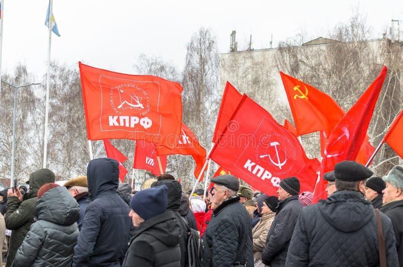 Stad van Ulyanovsk, Rusland, march23, 2019, een verzameling van communisten tegen de hervorming van de Russische overheid royalty-vrije stock afbeelding