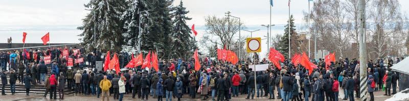 Stad van Ulyanovsk, Rusland, march23, 2019, een verzameling van communisten tegen de hervorming van de Russische overheid stock afbeeldingen