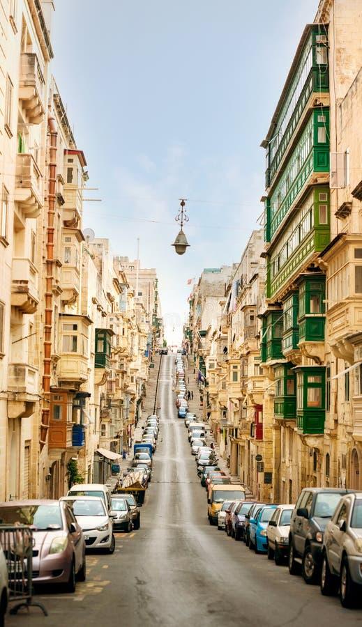 Stad van Valletta bij dag stock afbeelding