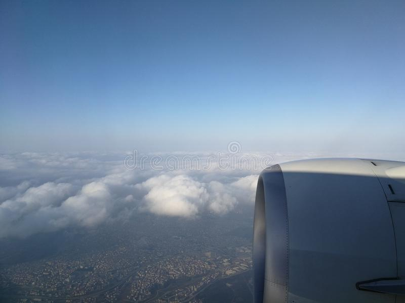 Stad van vliegtuig stock foto