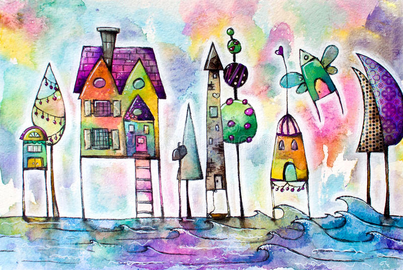 Stad van waterverf de magische huizen, straat vector illustratie