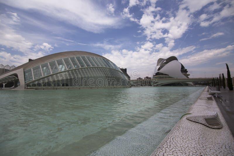 Stad van Wetenschap en Kunsten in Valencia Spain stock foto's