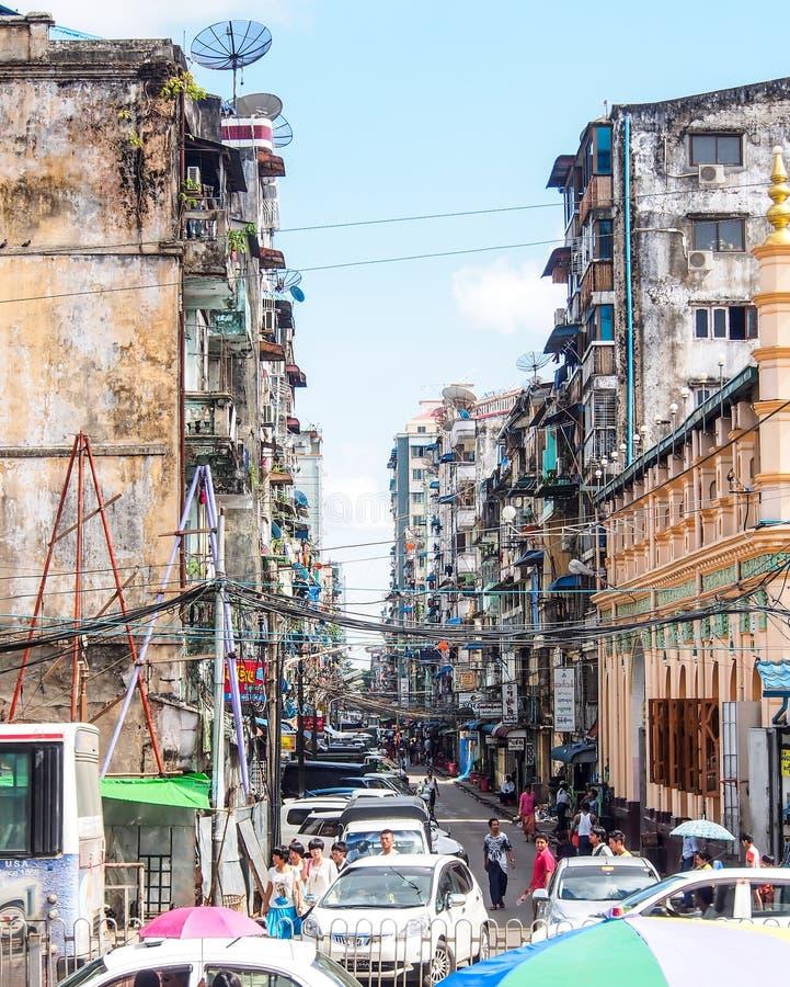 Stad van Yangon, Myanmar 2 stock fotografie