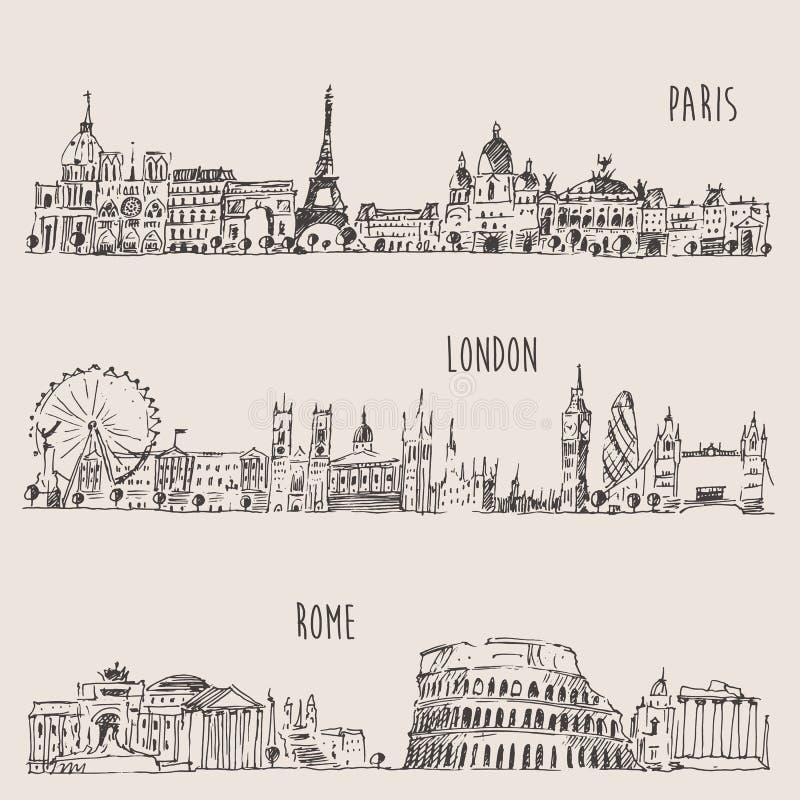 Stad Vastgesteld Londen, Parijs, Rome Gegraveerde Illustratie stock illustratie