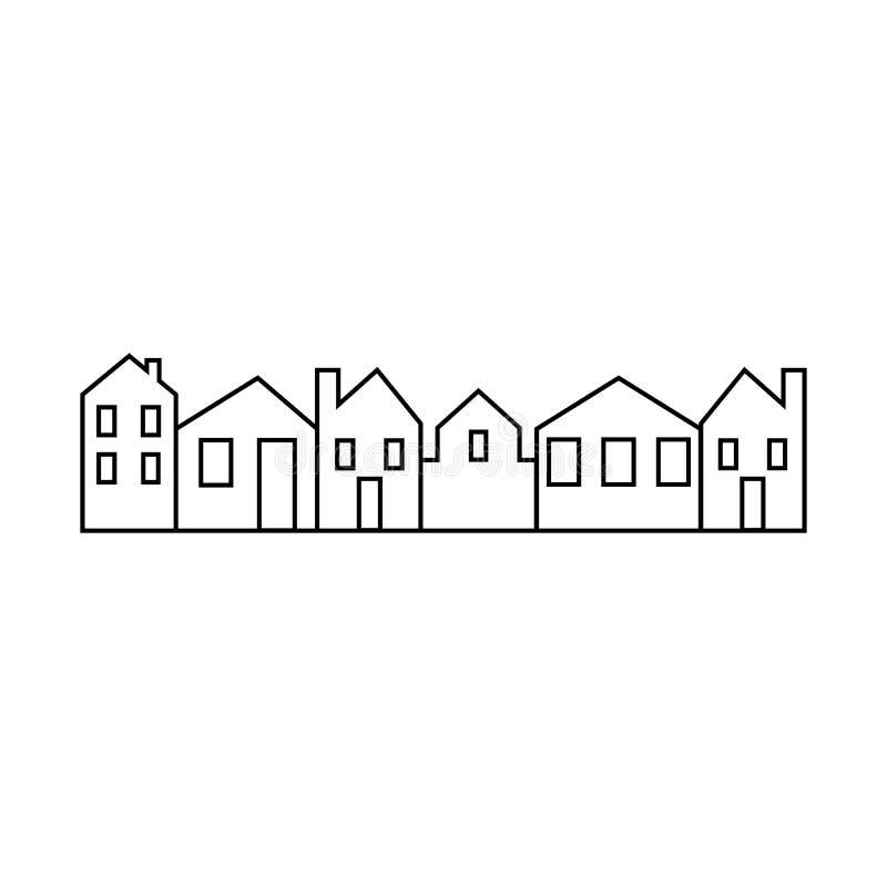 Stad vektorsymbol, bakgrund, svartvit kontur stock illustrationer