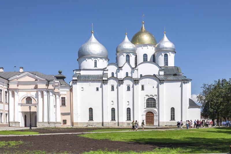 Stad Veliky Novgorod Het Kremlin, St Sophia Cathedral stock foto's