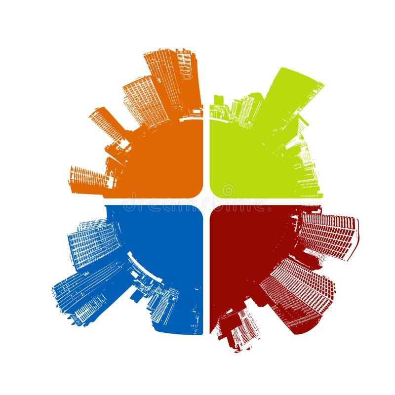 Stad in vier kleuren. Vector royalty-vrije illustratie
