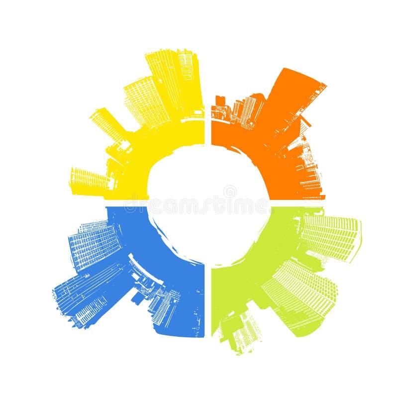 Stad in vier kleuren. Vector stock illustratie