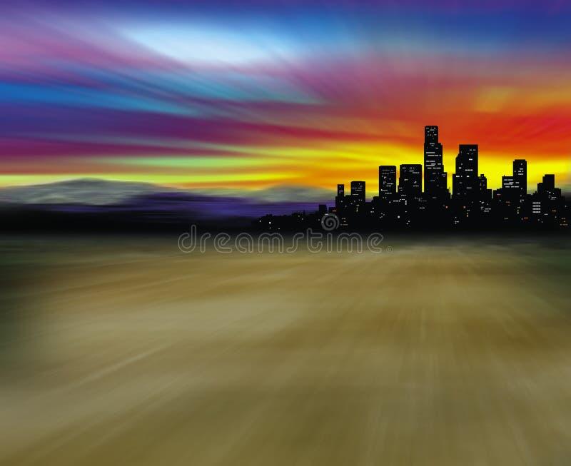 Stad in woestijn stock illustratie