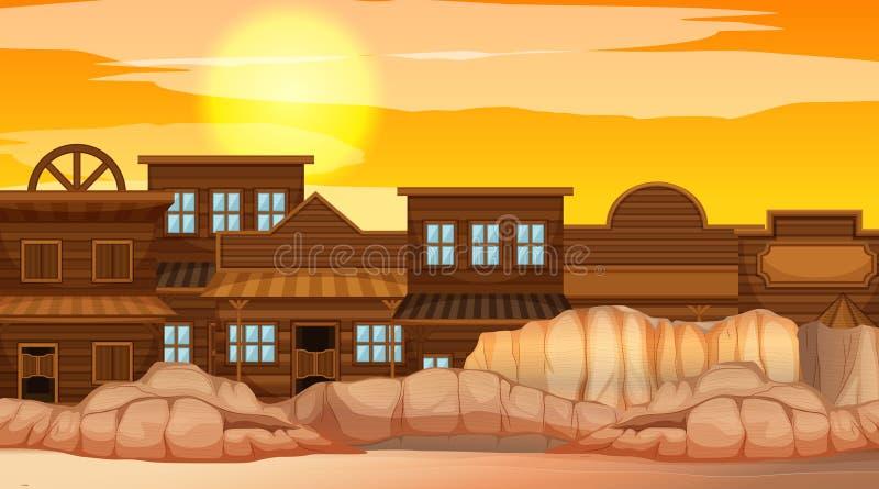 Stad in woestijnscène stock illustratie