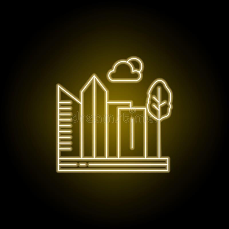 Stad, wolkenkrabber, gebouwen, het pictogram van de boomlijn in gele neonstijl Element van landschappenillustratie Tekens en symb royalty-vrije illustratie