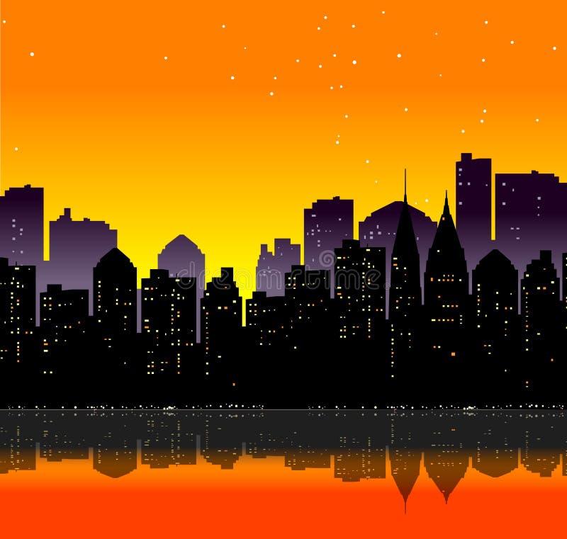 Stad, Zonnestraal stock illustratie