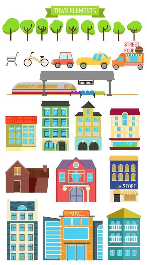 Stadbeståndsdelar stock illustrationer