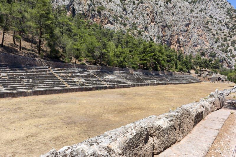 Stade à Delphes, Grèce, stade Delphic, ruines antiques photos stock
