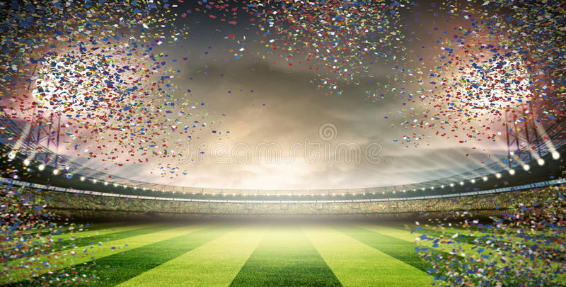 Stade avec des confettis photos libres de droits