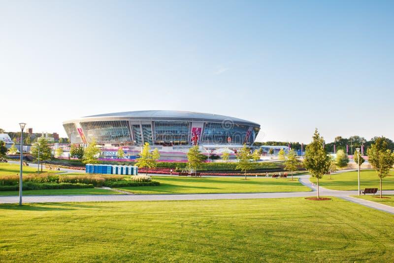 Stade d'arène de Donbass à Donetsk, Ukraine images libres de droits