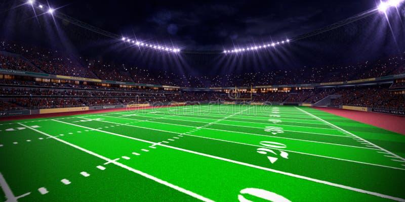 Stade d'arène du football de nuit image stock
