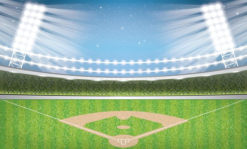 Stade de base-ball avec les lampes au néon arène illustration de vecteur