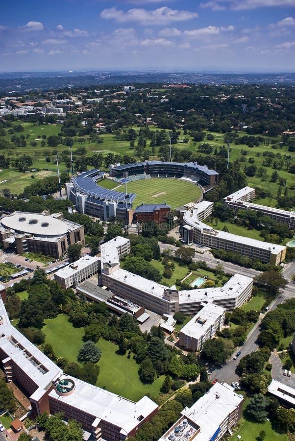 Stade de cricket de vagabonds - vue aérienne images libres de droits