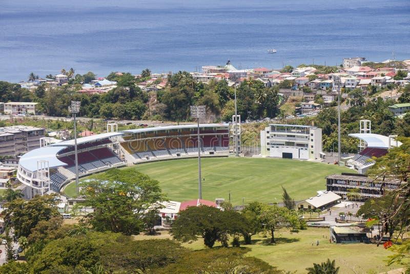 Stade de cricket sur le Dominica photos libres de droits