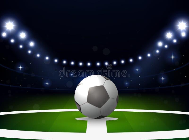 Stade de football avec la boule et projecteur la nuit illustration libre de droits