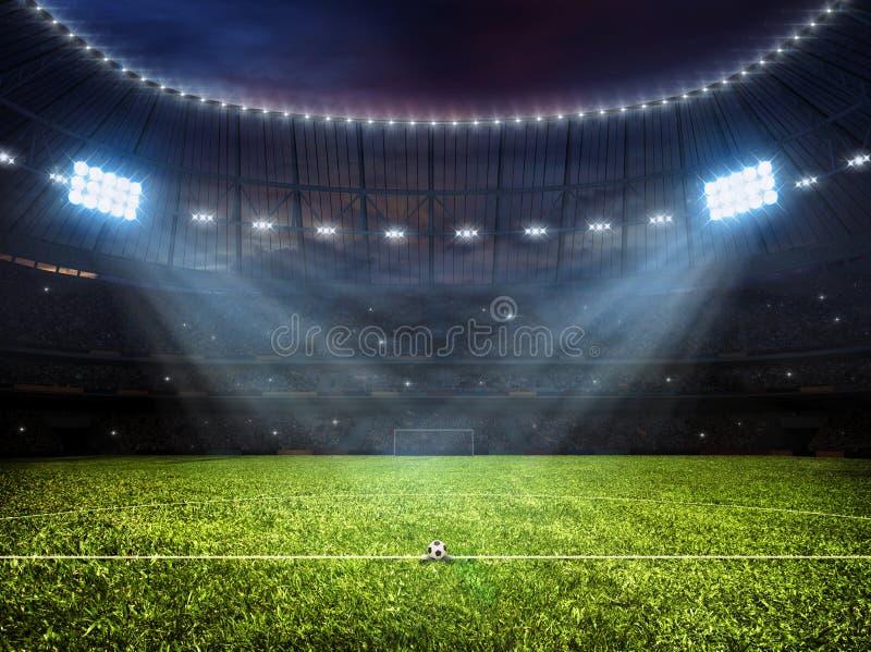 Stade de football du football avec des projecteurs photos libres de droits