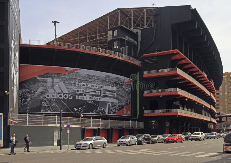 Stade de football de Mestalla dans la ville espagnole Valence images libres de droits