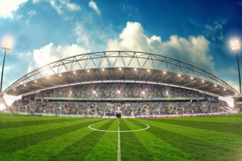 Stade de football pour le championnat prêt à se tenir le premier rôle illustration stock