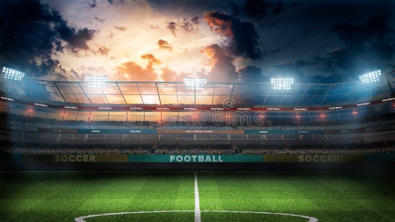 Stade de football vide dans les rayons légers à l'illustration de la nuit 3d illustration stock