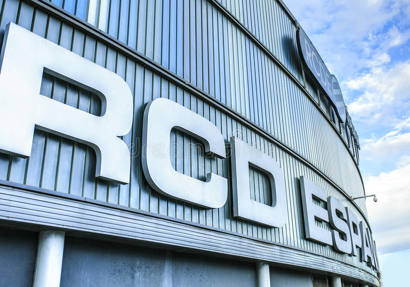 Stade de RCDE Espanyol situé dans Cornella de llobregat Le seul photo stock