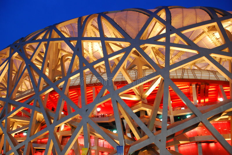 stade national d'emboîtement d'oiseau de Pékin photo stock