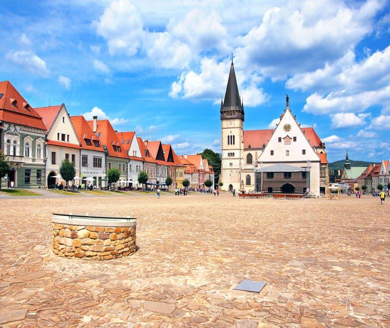 Staden av Bardejov, Slovakien UNESCOarv royaltyfri fotografi