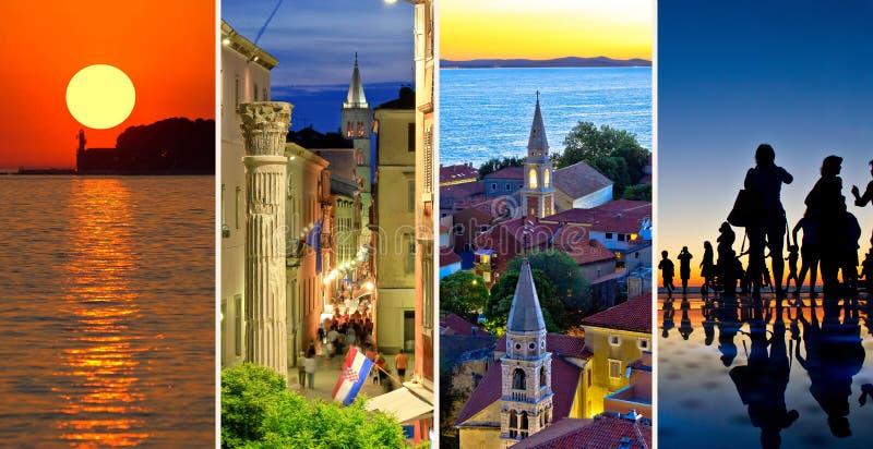 Staden av den Zadar aftonen och solnedgången reser collage royaltyfri foto