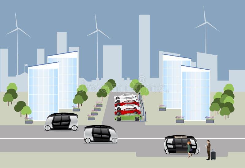 Staden av det framtida begreppet stock illustrationer