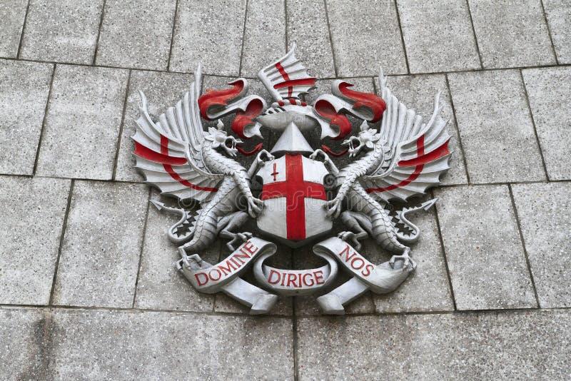 Staden av det London vapnet royaltyfria bilder
