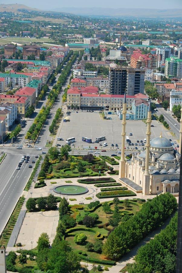 Staden av Grozny huvudstaden av Tjetjenien fotografering för bildbyråer