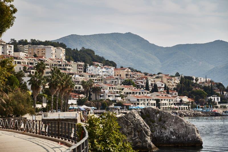 Staden av Herceg Novi adriatic hav Montenegro Sommar arkivbild