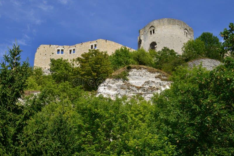 Staden av Les Andelys i normandie royaltyfria bilder