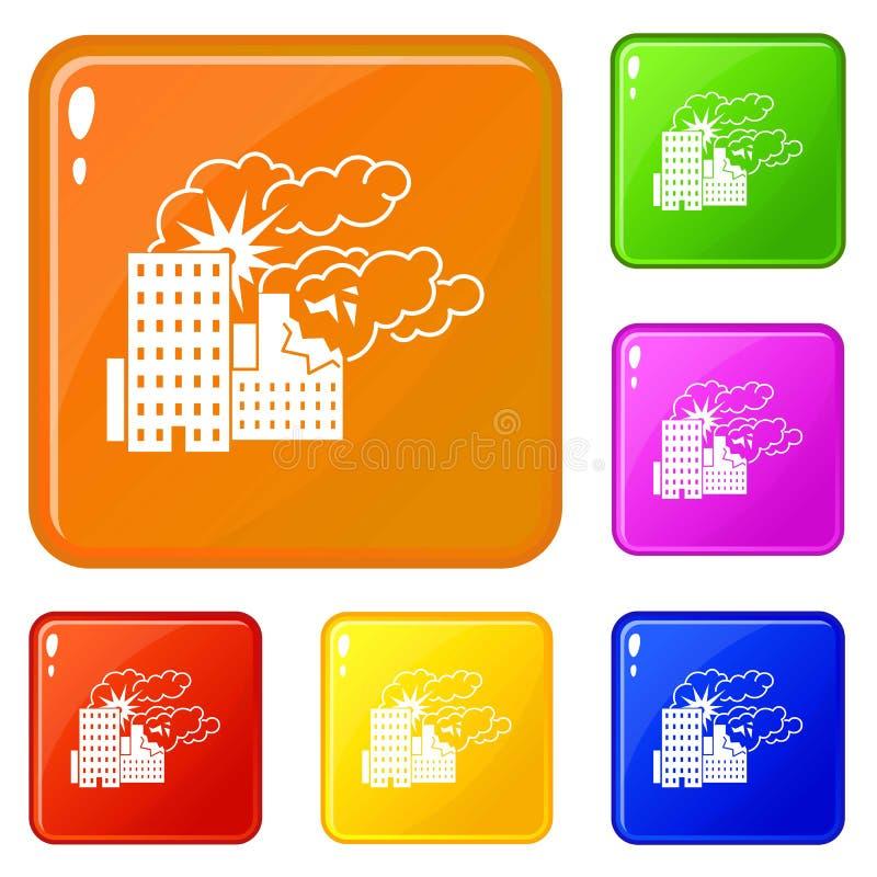 Staden bombarderar färg för vektor för krigsymbolsuppsättning vektor illustrationer