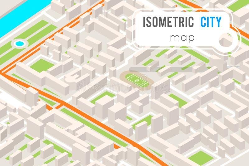 Staden 3d för gränsmärket för stället för den isometriska stadsgatafärdplanen sänker den stads- designvektorillustrationen stock illustrationer