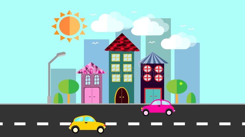 Staden, en liten stad i plan stil med hus med ett slutta tegelplattatak, bilar, träd, fåglar, moln, sol, väg, lykta på ett blått vektor illustrationer