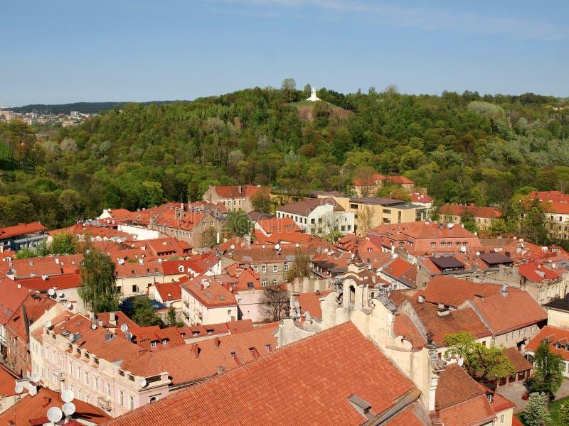staden korsar kullen tre vilnius arkivbild