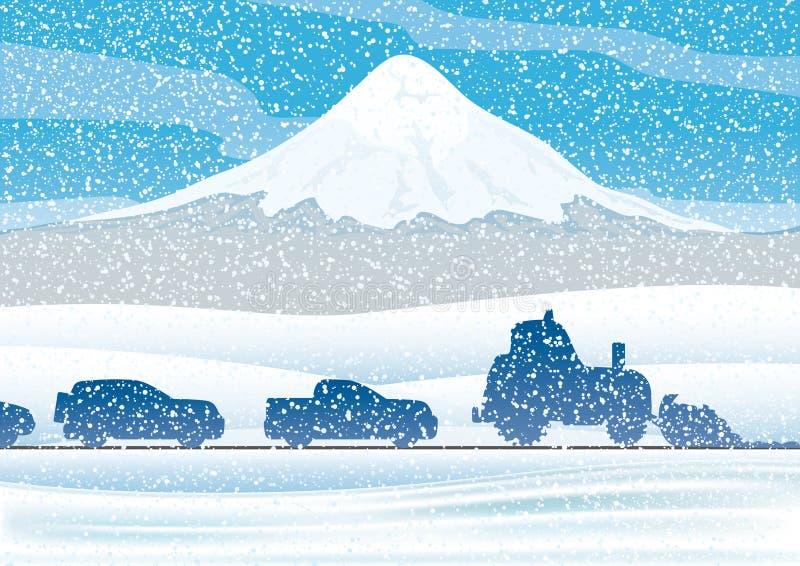 staden nära den järnväg vägen skiner snowsunen för att övervintra trä royaltyfri illustrationer