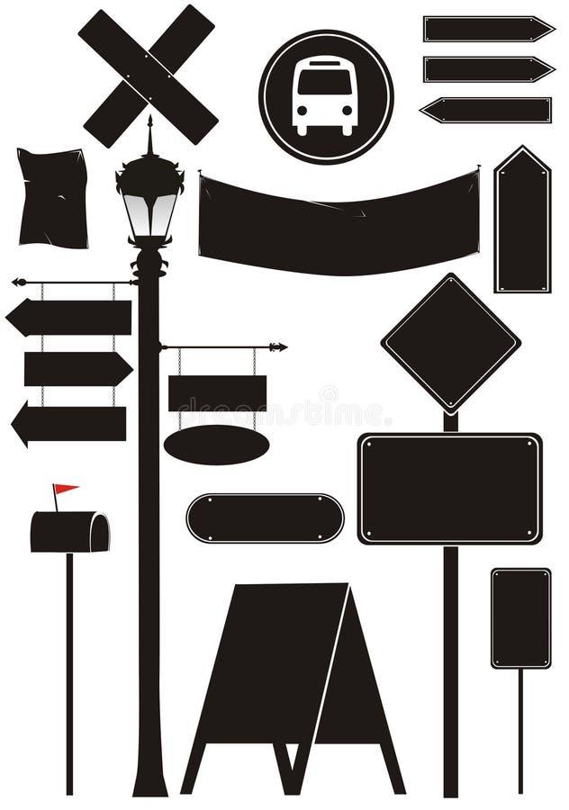 staden objects vägmärken stock illustrationer