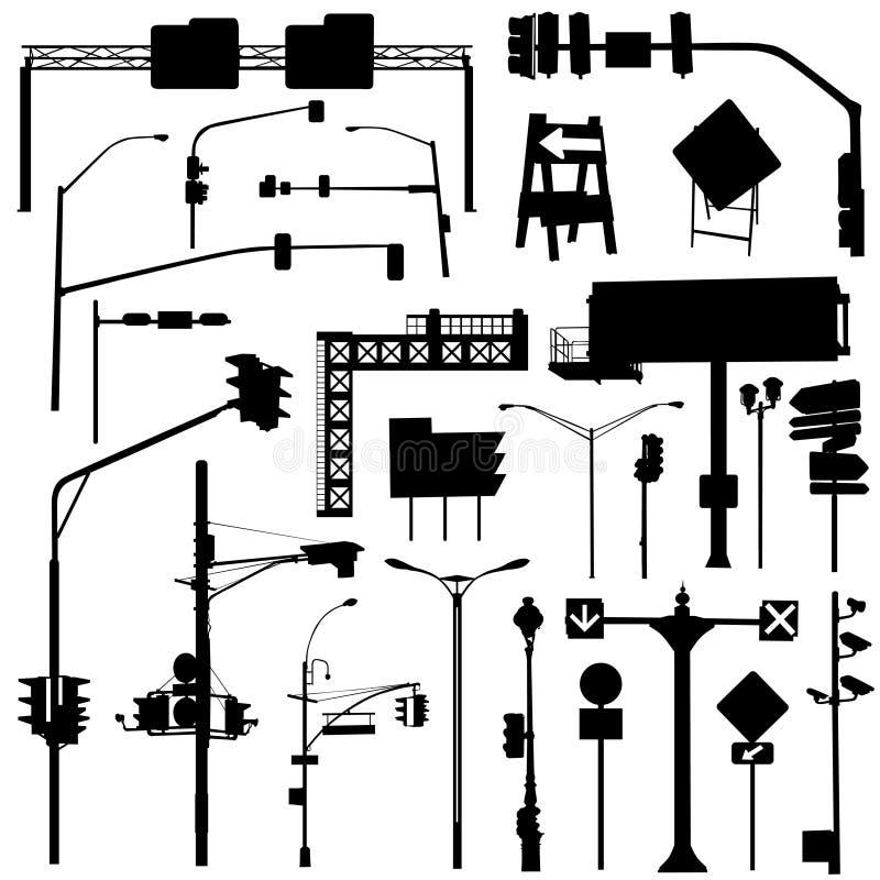 staden objects vektorn stock illustrationer