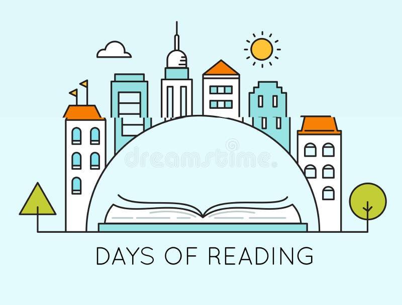 Staden och öppnar boken Dagar av det läs- tecknet Illustration för litteratur- och arkivdagvektor eller affischmall vektor illustrationer