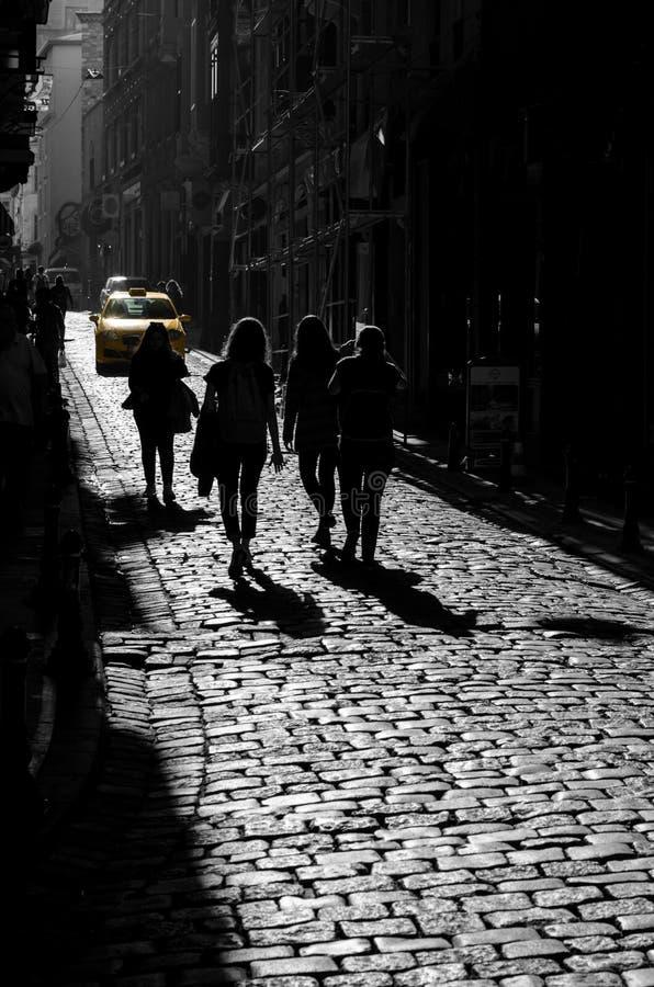 Staden och taxien tilldelar arkivbild