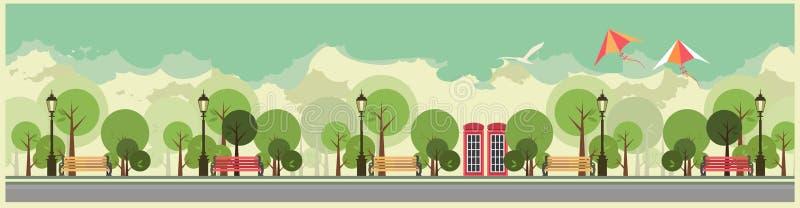 Staden parkerar vektor illustrationer